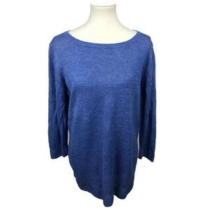 Talbots Linen Pullover Sweater Blue Plus Size 2X